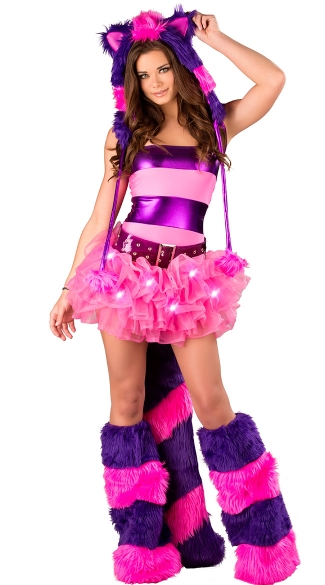 Deluxe Furry Cheshire Cat Costume, Sexy Cheshire Cat Costume, Cheshire Cat Outfit