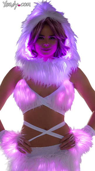 Furry Light-Up Wrap Top - White/Pink