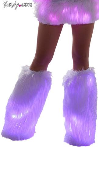 Furry Light-Up Legwarmers - White/Pink