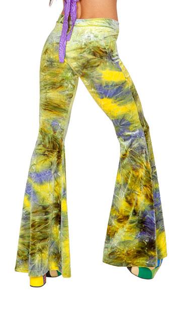 Tie Dye Velvet Bell Bottoms - Earth