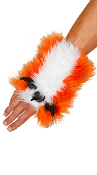 Fox Gloves, Faux Fur Gloves, Orange Gloves