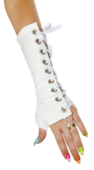 Pegasus Costume Gloves, White Arm Warmers, White Long Gloves