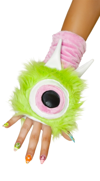 One Eyed Monster Gloves, Green Gloves, Furry Gloves
