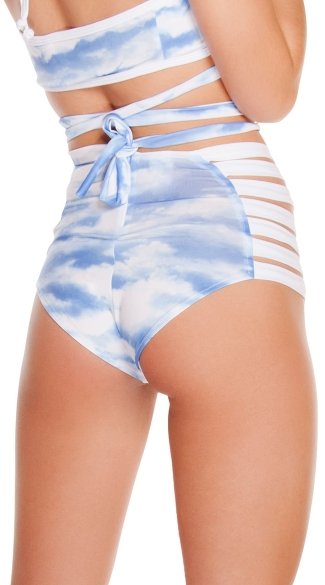 Cloud Print Strappy High Waisted Shorts - Cloud