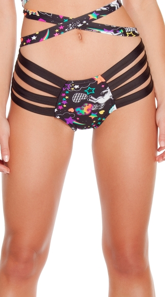 Strappy Unicorn Print Bottoms, Unicorn Shorts, Patterned Shorts