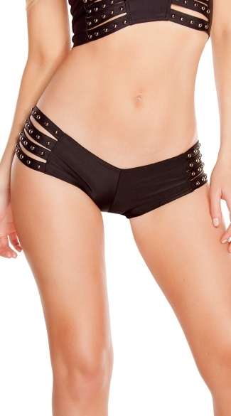 Studded Strappy Shorts, Studded Dancewear, Studded Dance Shorts