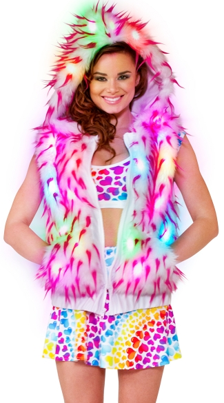 Light-Up Spike Vest, Furry Vest, Furry Dancewear