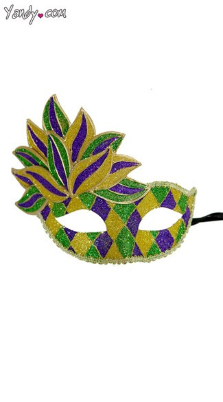Purple Green and Gold Venetian Mask, Carnival Mask