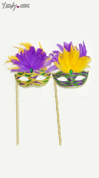 Handheld Glitter Mardi Gras Mask, Venetian Mask with Short Feathers and Stick