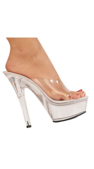 The Mistress Clear Platform Slide, Clear High Heels, 6 Inch Clear Stilettos