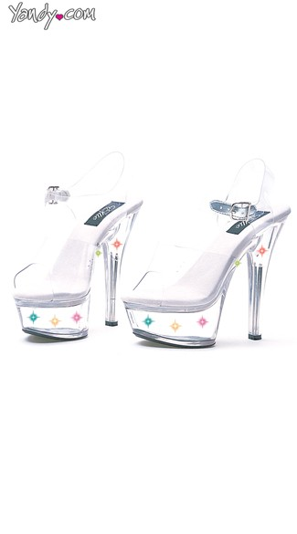 "6"" Heel Clear Sandal With Multicolor Lights, Light Up Plastic Shoes"