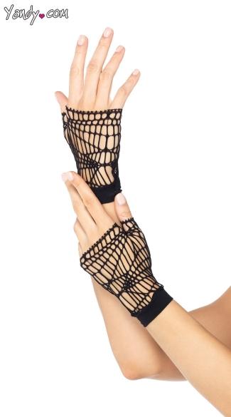 Set Of Distressed Net Fingerless Gloves - Black