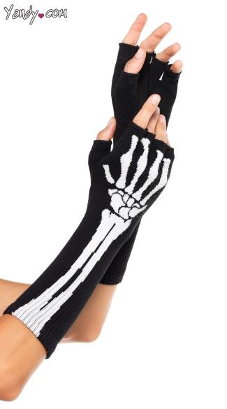 Arm Skeleton Fingerless Glove Set - Black