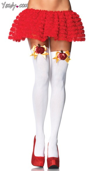 Poison Apple Stockings, White Costume Stockings