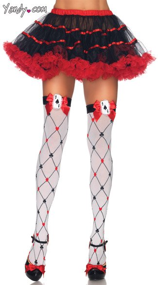 Diamond Card Suit Stockings, Red Queen Stockings