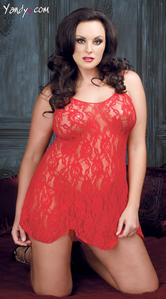 Plus Size Rose Lace Flared Chemise Set - Red