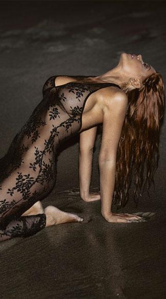 Two Piece Spanish Rose Lace Long Dress - Black