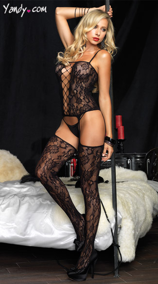 Bouquet Lace Suspender Bodystocking, Black Floral Body Stocking