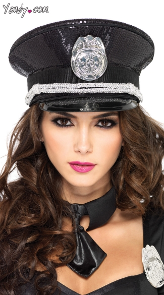 Sequin Cop Hat - Black