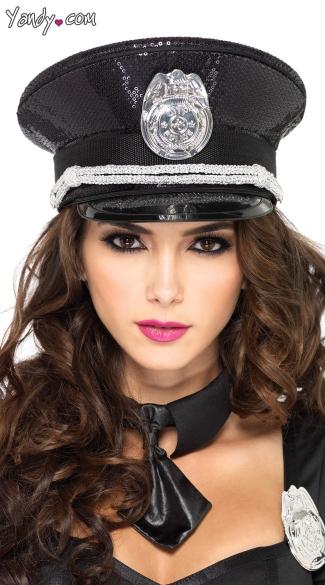 sequin cop hat  sequin accessory  cop hat  officer hat