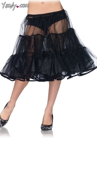 Shimmer Organza Knee Length Petticoat - Black