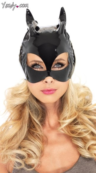 Vinyl Cat Woman Costume Mask - Black