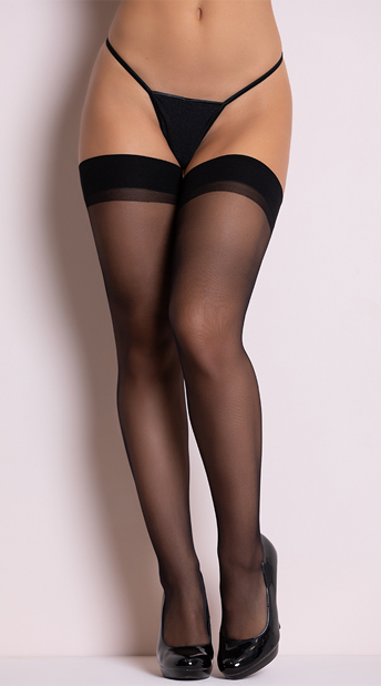 Sheer Backseam Stockings - Black