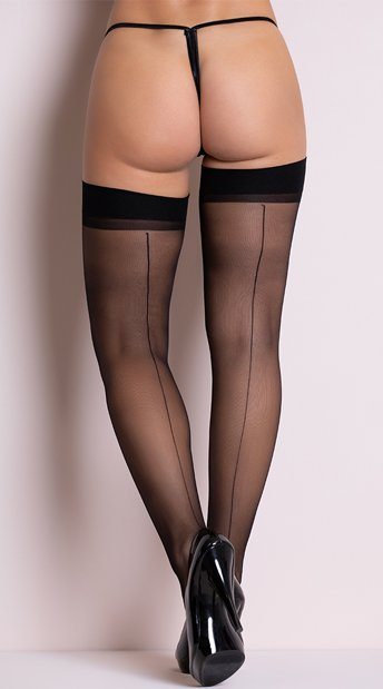 Sheer Backseam Stockings - Black