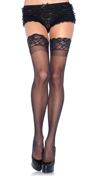 Plus Size Lycra Never Slip Thigh High Stocking - Black