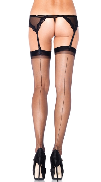 Ultra Sheer Thigh High Stockings with Back Seam - Black