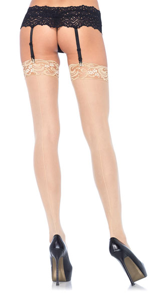 Lace Top Sheer Stockings with Backseam - Nude