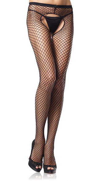 Industrial Net Crotchless Pantyhose - Black