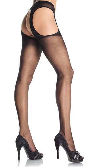 Plus Size Sheer Suspender Style Pantyhose - as shown