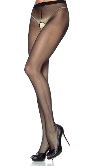 Plus Size Crotchless Pantyhose Stockings - Black
