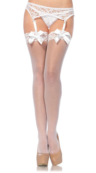 Sheer Lace Top Thigh Highs with Satin Bows, Bridal Lingerie, Lace Top Thigh High Stockings