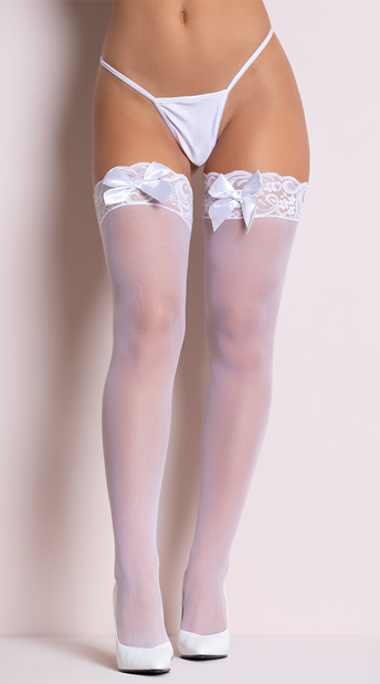 Sheer Lace Top Thigh Highs with Satin Bows - White
