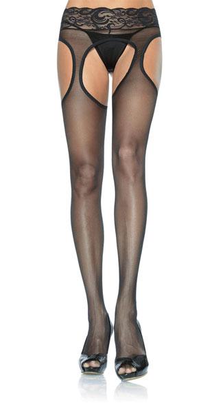 Lycra Sheer Garter Pantyhose - Black