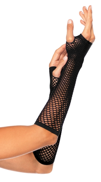 Fishnet Fingerless Gloves - Black