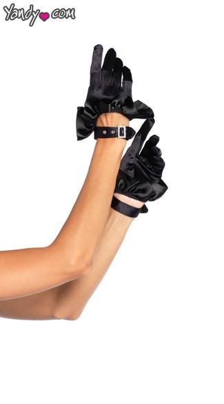 Cropped Satin Ruffle Glove With Rhinestones - Black