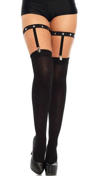 Studded Elastic Garter Suspender Straps - Black