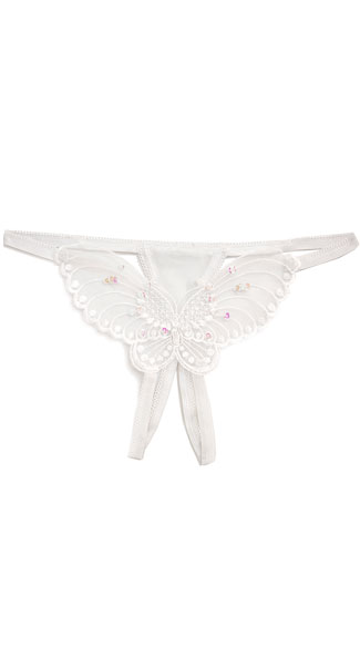 Sheer Butterfly Crotchless G-String - White