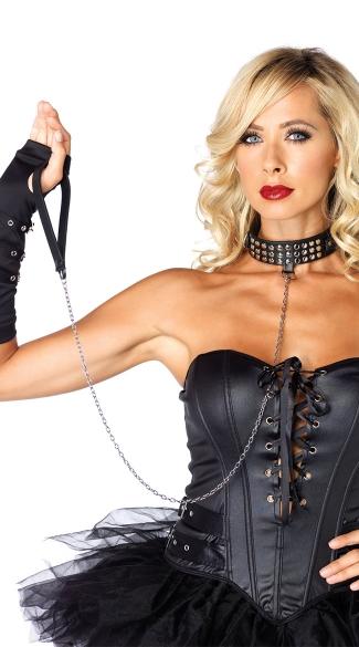 Black Bondage Studded Collar With Leash - Black