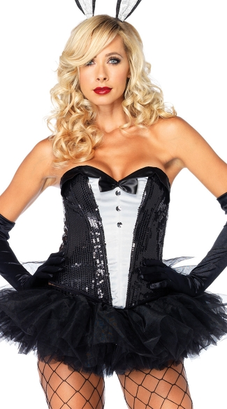 Sequin Tuxedo Corset - Black/White