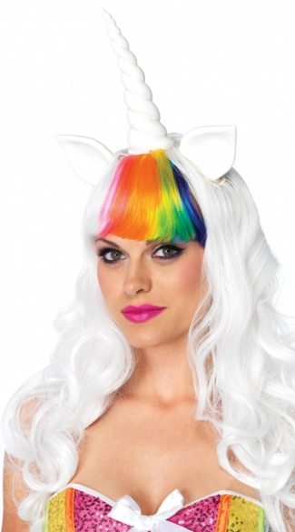Unicorn Rainbow Wig, White Unicorn Wig with Rainbow Bangs, Sexy Wigs, Colored Wigs