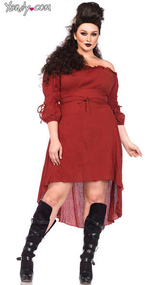 Plus Size Warrior Peasant Dress Costume, Peasant Dress Costume, High Low Peasant Dress Costume