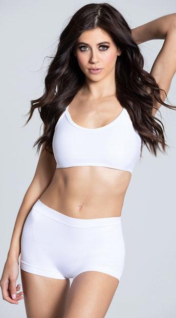 Seamless Lycra Hot Pants - White