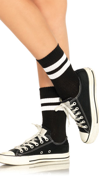 Trendy Athletic Striped Anklet Socks - Black/White