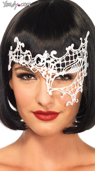 Venetian Lace Eye Mask - White