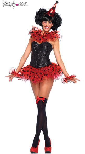 Red Glitter Clown Costume - as shown