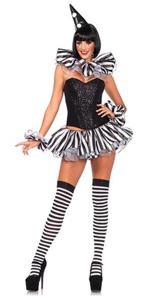 Black Stripe Ruffle Clown Costume - as shown